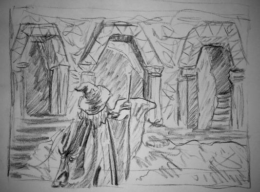 gandalf in moria lord of the rings art illustration drawing artwork fantasy tolkien essex jglover art
