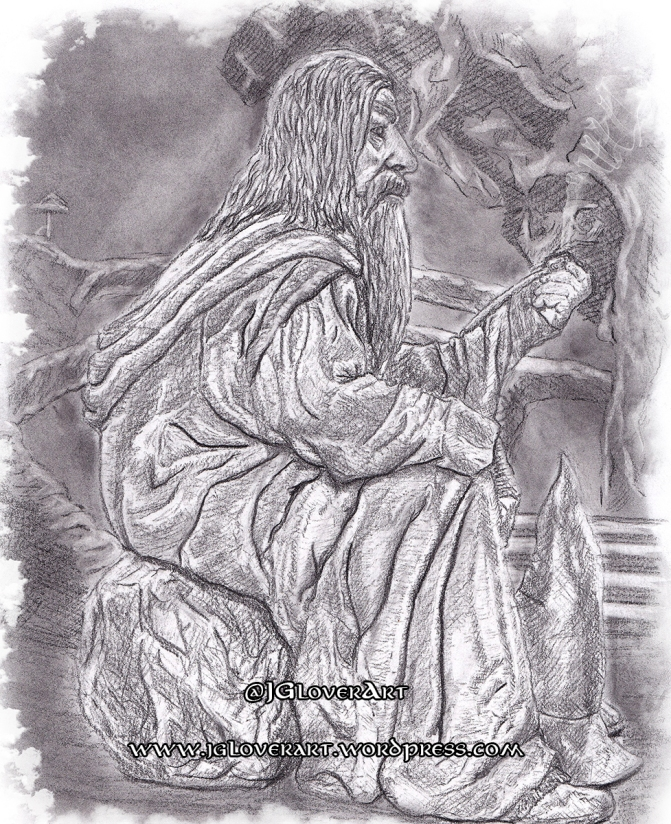 Gandalf in Moria charcoal lord of the rings tolkien drawing art illustration john howe alan lee ted nasmith lotr tv series amazon artwork concept art