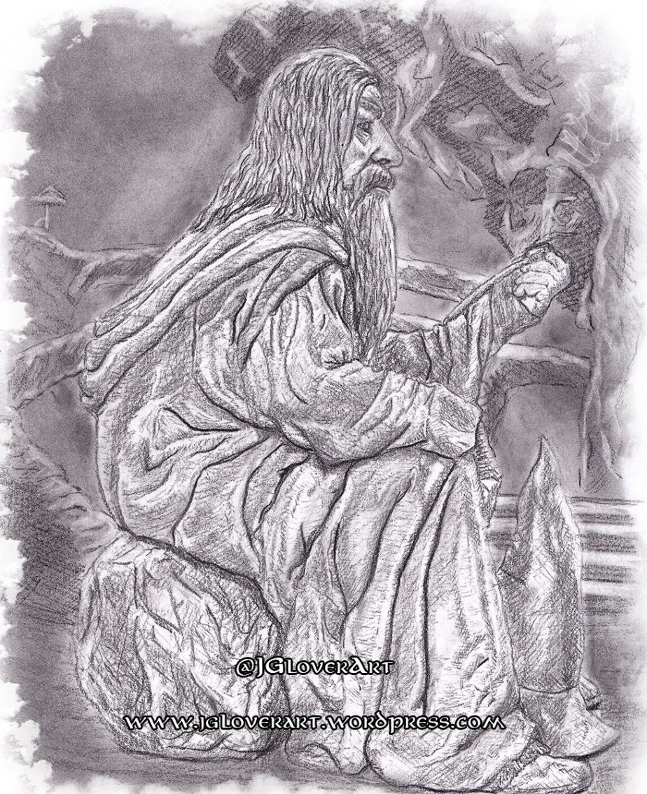 Gandalf in Moria – 'I have no memory of this place at all!' – Lord of the Rings – The Fellowship of the Ring – Charcoal Drawing Illustration LOTR Fantasy Art