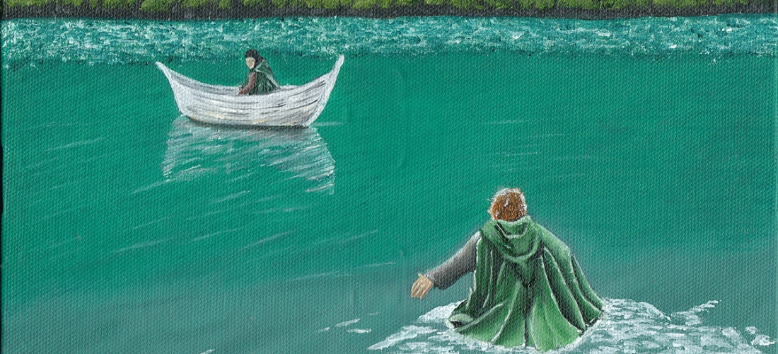 Frodo Baggins and Samwise Gamgee lord of the rings lotr on prime tolkien movie tv series fantasy art illustration oil painting middle earth