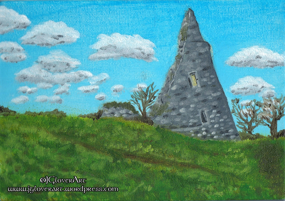 The Fallen Tower – Hadleigh Castle Ruins – Oil Painting Sketch – A Historical Fantasy LandscapeIllustration