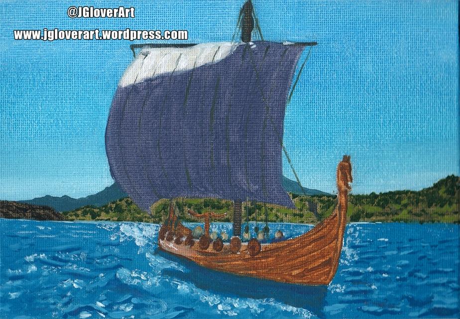 Viking Longship at Sea – Speed Paint Oil PaintingIllustration