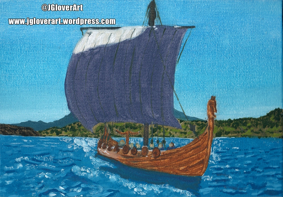 Viking Longship at Sea – Speed Paint Oil Painting Illustration