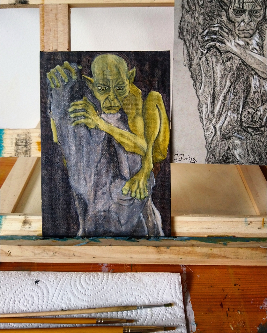 Gollum Smeagol Oil Painting WIP Figure Study Sketch Fantasy LOTR Tolkien Lord of the Rings