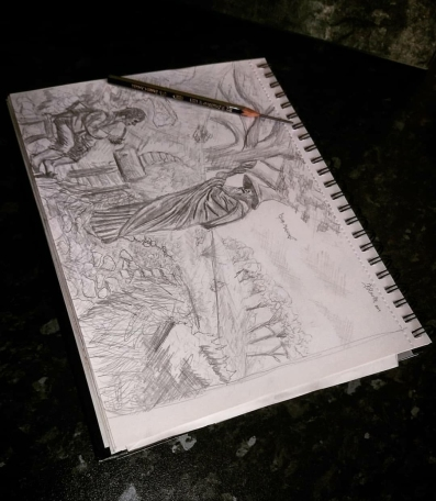 good morning - middle earth lotr sketch book drawing gandalf bilbo hobbit lord of the rings tolkien