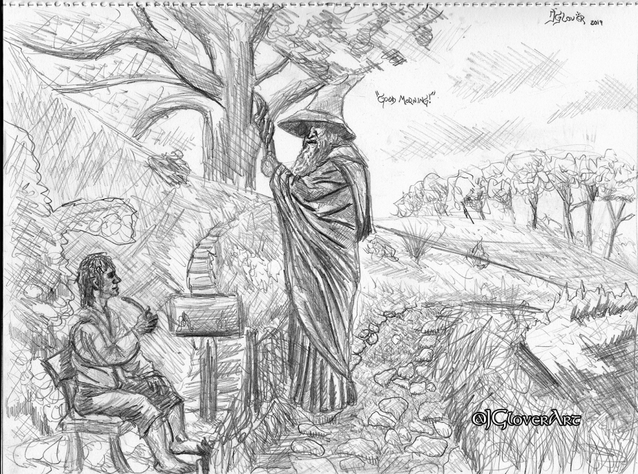 """Good Morning!"" – Middle-earth Sketchbook Illustration – Bilbo Baggins & Gandalf the Grey – The Hobbit – There and Back Again, a Hobbit's Tale – Art Drawing Sketch"
