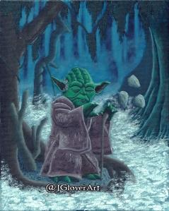 jedi master sith yoda star wars lucasfilm disney skywalker chewbacca galaxy far far away oil painting illustration artwork josh glover