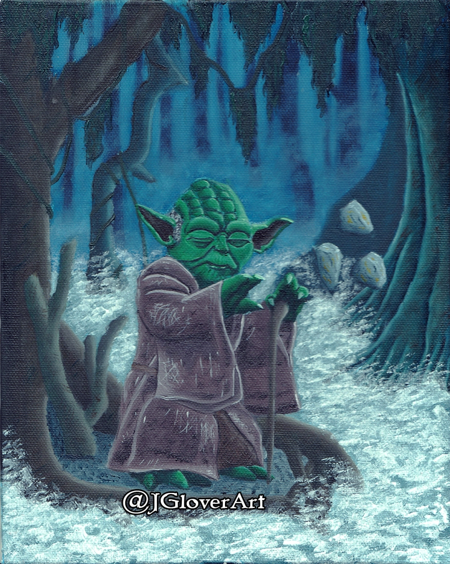 Jedi Master Yoda on Dagobah – Star Wars Oil Painting Illustration Artwork May The Force Be With You
