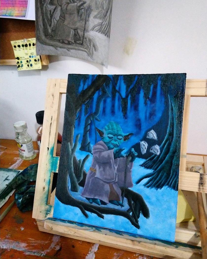Jedi Master Yoda on Dagobah - Oil Painting - star wars - art artwork illustration wip behind the scenes studio photo