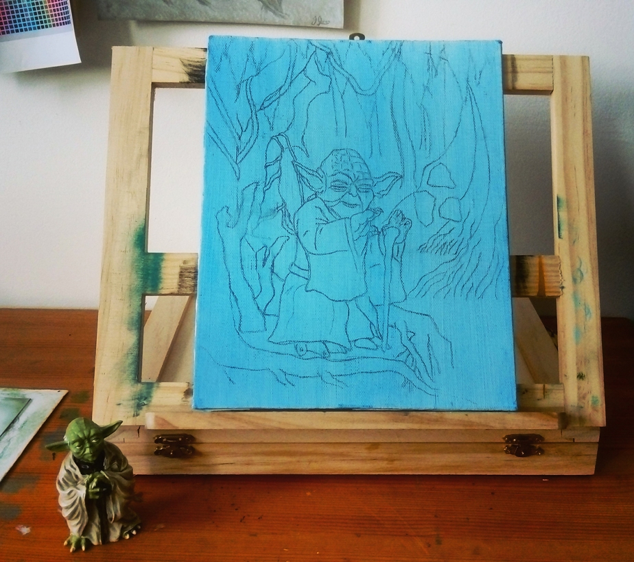 yoda jedi master painting cartoon figure illustration easel behind the scenes wip