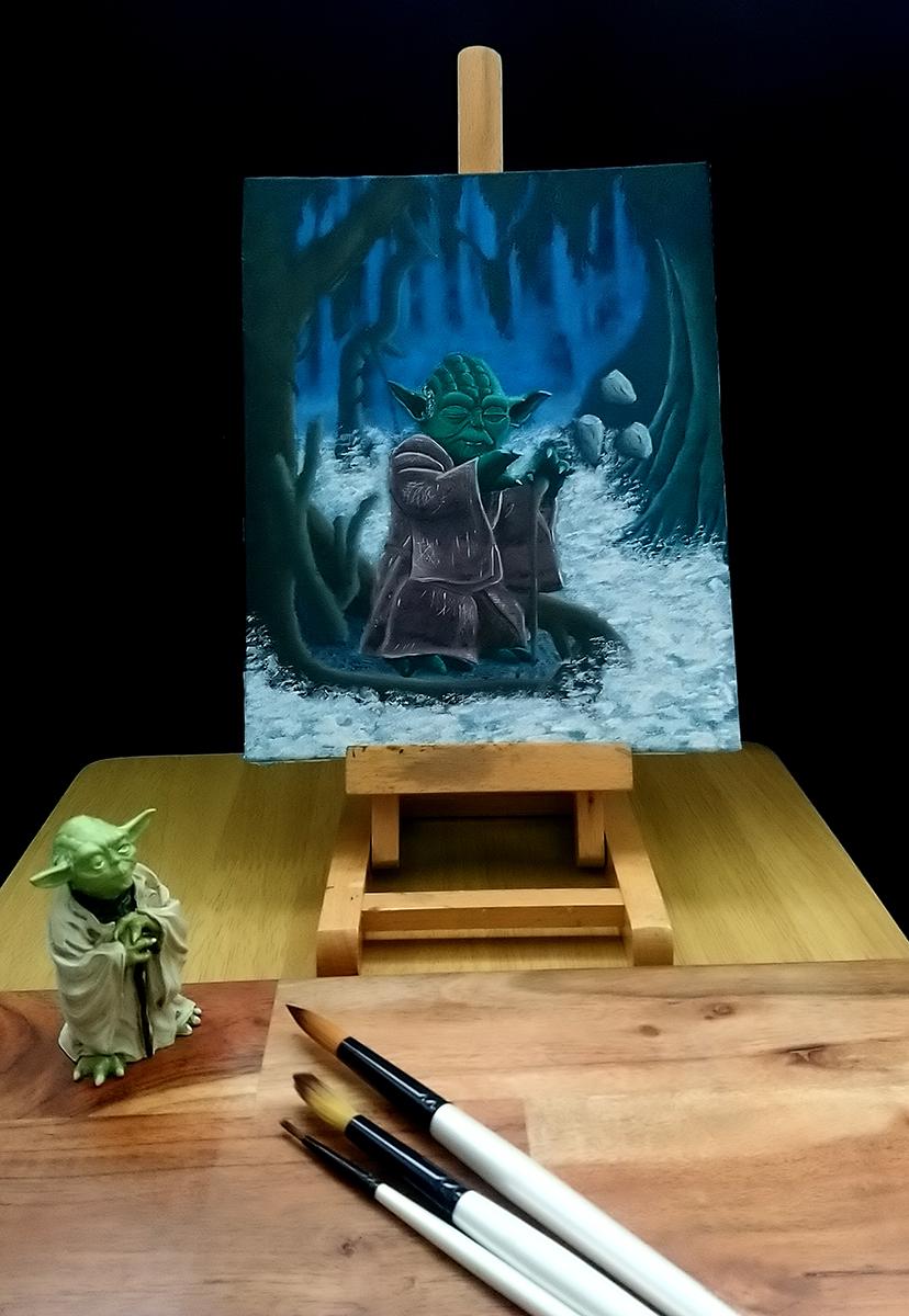 Jedi Master Yoda on Dagobah - Oil Painting - star wars - art artwork illustration