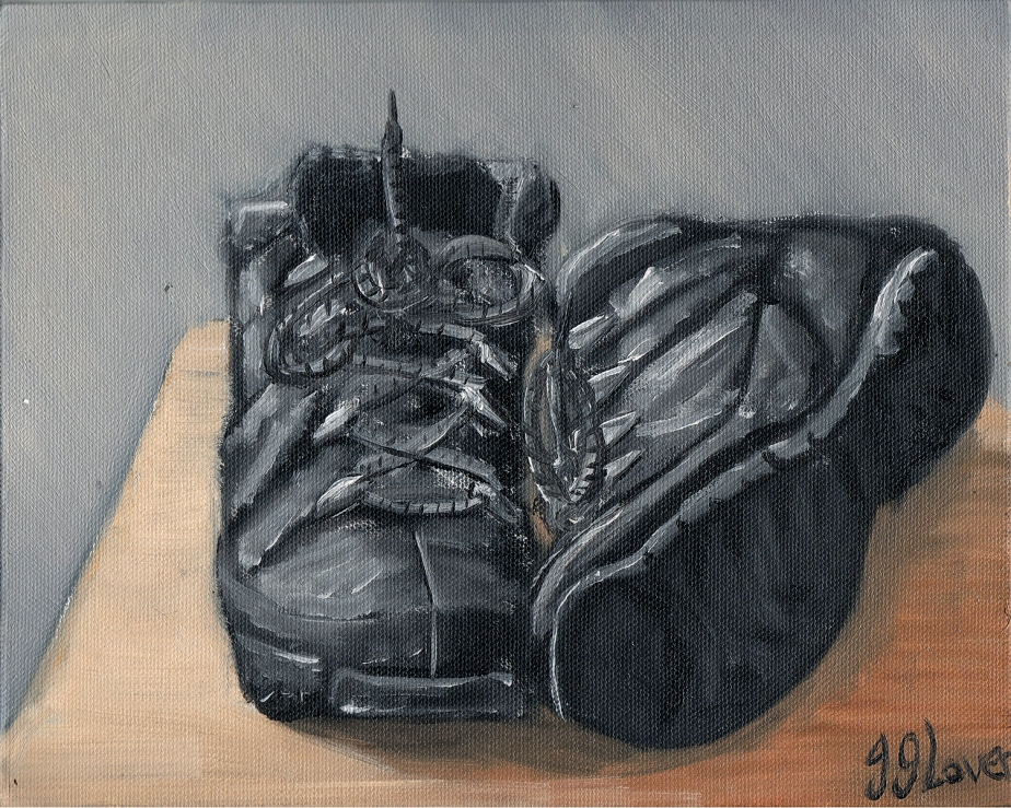 'Travelling Boots' – Still Life Alla Prima Oil Painting Sketch