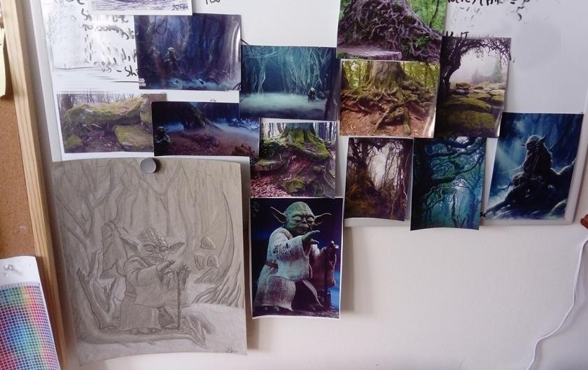 star wars celebration yoda jedi master dagobah forest landscape reference art illustration