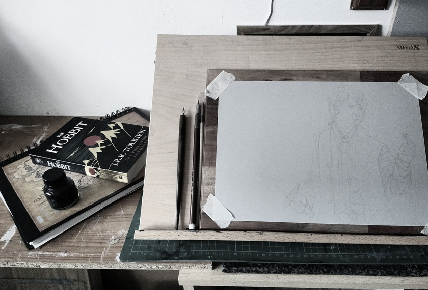 On the easel bilbo baggins finding the ring hobbit lotr lord of the rings tolkien art illustration concept ink drawing