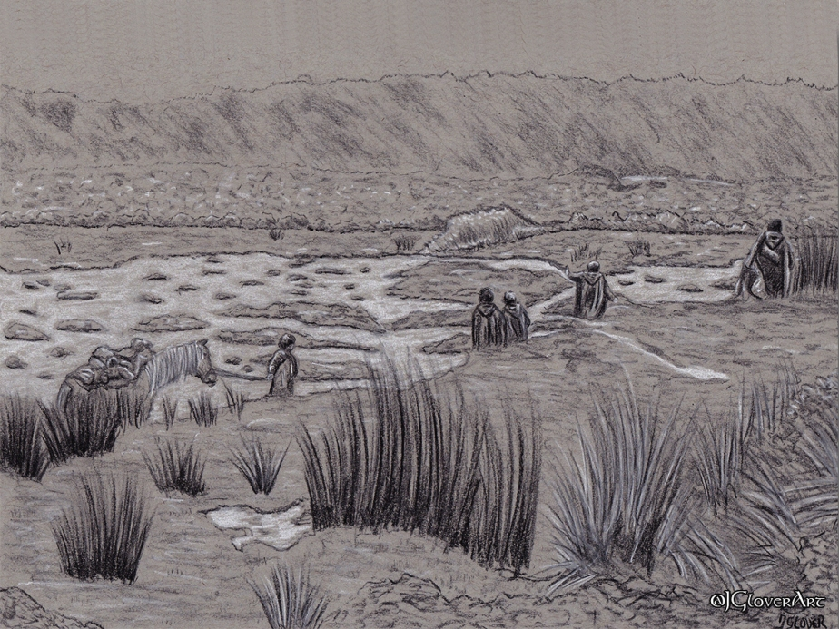 The Journey to Weathertop – Strider Leads the Hobbits Through Midgewater Marshes – Preliminary Drawing Illustration Art sketch LOTRTolkien