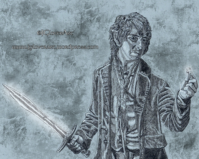 Bilbo Baggins - The Finding of the One Ring - JRR Tolkien Lord of the Rings Hobbit Illustration Ink Drawing Art Fantasy JGlover digital