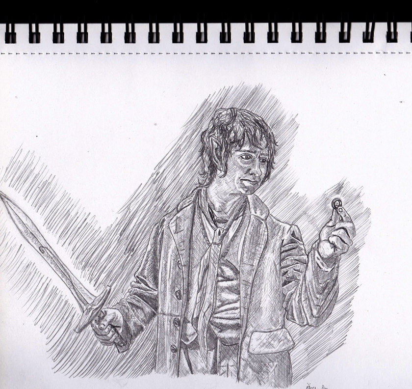 Bilbo Baggins - The Finding of the One Ring rough sketch concept art illustration pencil drawing john howe alan lee inspiration