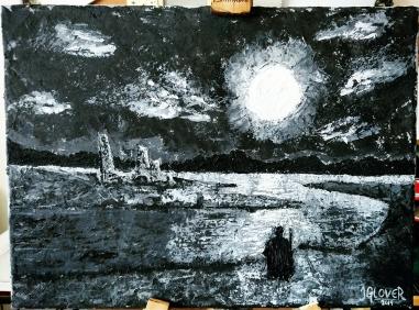 palette knife oil painting landscape fantasy art illustration moon river ruins figure dark