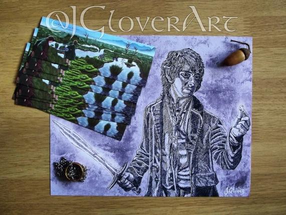 bilbo baggins art illustration print sale etsy free bookmark jgloverart acorn one ring ink drawing