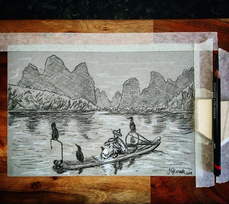 cormorant fisherman fishing china chinese river animal sketch drawing charcoal oil painting storytelling narrative