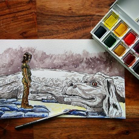 Atreyu & Falcor - The Neverending Story - Watercolour Sketch - Fantasy Art Illustration WIP winsor and newton cotman watercolor