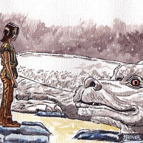 Atreyu & Falcor - The Neverending Story - Watercolour Sketch - Fantasy Art Illustration
