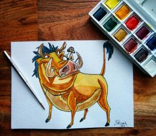 Hakuna Matata - Timon Pumbaa - The Lion King - Watercolour Sketch - Art Illustration Disney WIP cotman watercolor winsor newton
