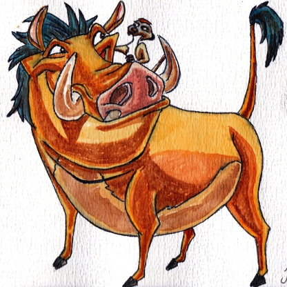 Hakuna Matata - Timon & Pumbaa - The Lion King - Watercolour Sketch - Art Illustration Disney