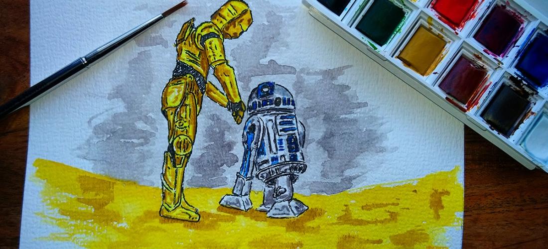 How did we get into this mess - C-3PO & R2D2 Land on Tatooine - Watercolour Sketch - Star Wars Art Illustration - WIP winsor newton cotman watercolor