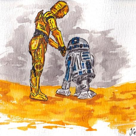 How did we get into this mess - C-3PO & R2D2 Land on Tatooine - Watercolour Sketch - Star Wars Art Illustration winsor newton cotman watercolor scifi science fantasy fiction
