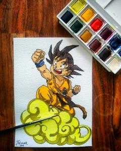 Kid Goku & Nimbus - Dragon Ball Z - Watercolour Sketch - Anime Manga Art Illustration WIP winsor newton cotman watercolor