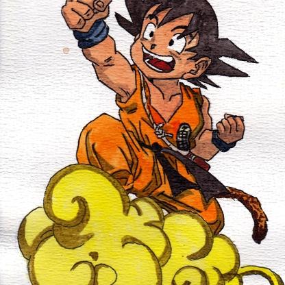 Kid Goku & Nimbus - Dragon Ball Z - Watercolour Sketch - Anime Manga Art Illustration