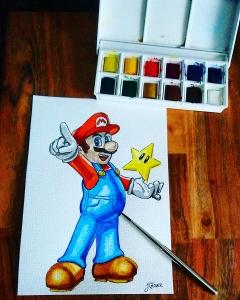 Mama Mia - Super Mario - Watercolour Sketch - Nintendo Art Illustration WIP winsor newton cotman watercolour watercolor