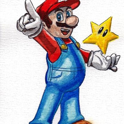 Mama Mia - Super Mario - Watercolour Sketch - Nintendo Art Illustration