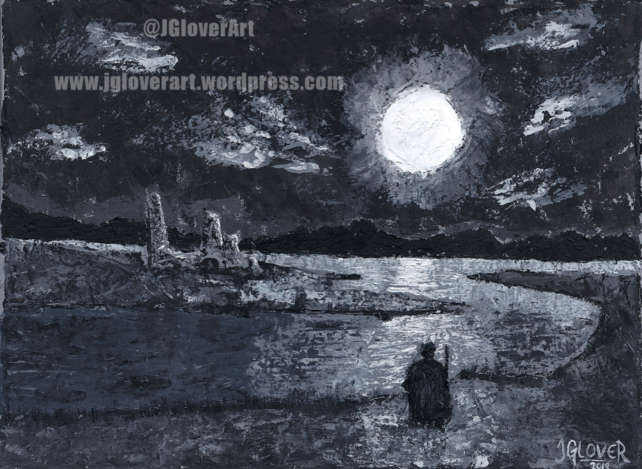 imaginative realism nocturnal moonlight moonlit landscape oil painting illustration fantasy sci fi science fiction space opera lotr tolkien