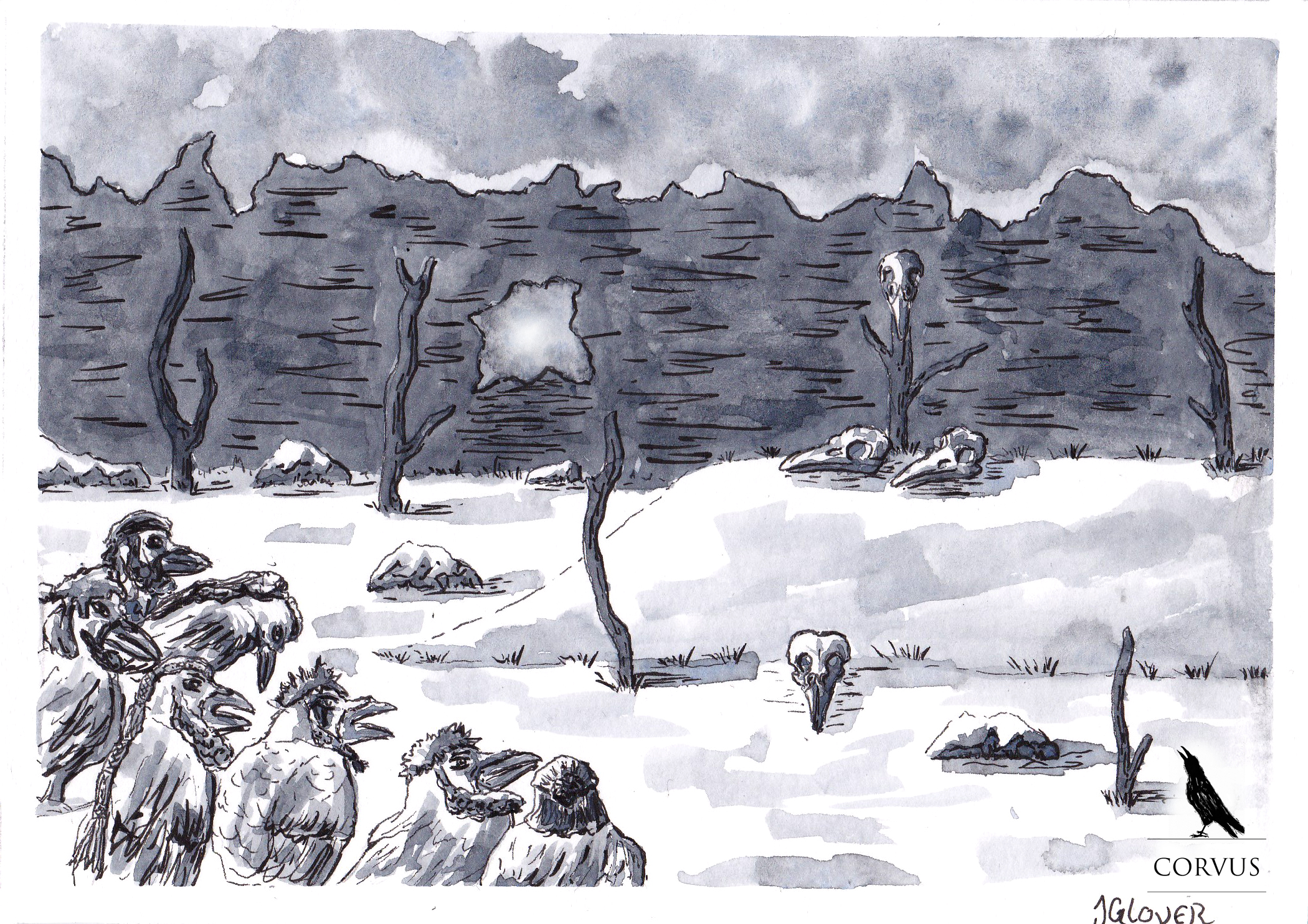 Corvus - Art - Illustration - Graphic Novel - Webcomic - Ink - Drawing - Inktober - Story - Raven - Crow