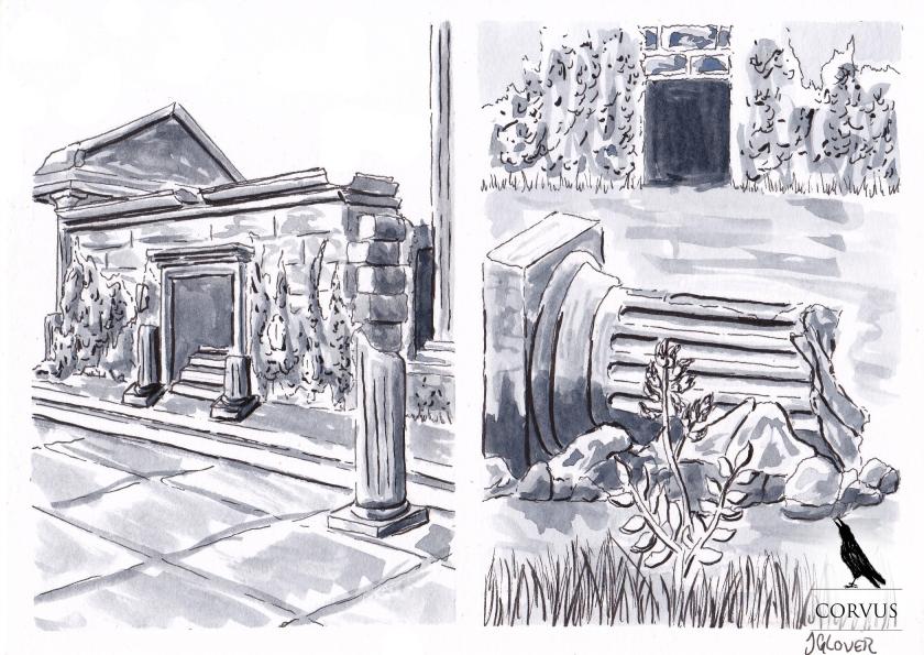 Corvus - fantasy - graphic novel - web comic - illustration - writing - story - architecture - ruins - temple