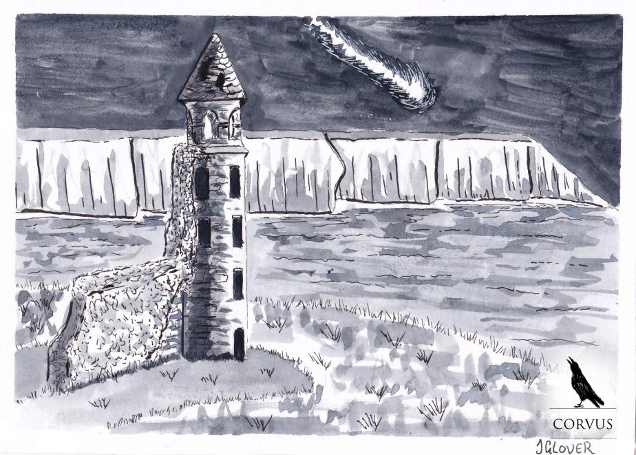 Corvus - art - illustration - graphic novel - webcomic - ruins - landscape - ink - drawing