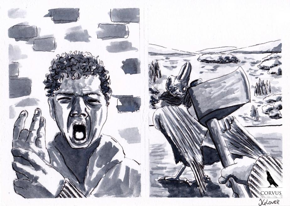 Corvus - art - illustration - graphic novel - web comic - fantasy - folk lore - ink - drawing
