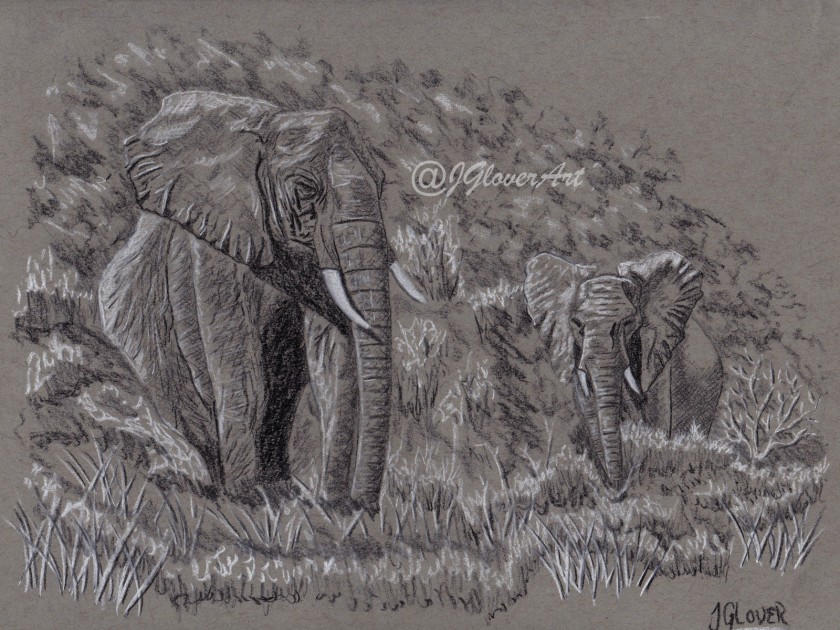 elephant - elephants - wildlife - art - drawing - illustration - landscape - african - africa - animal