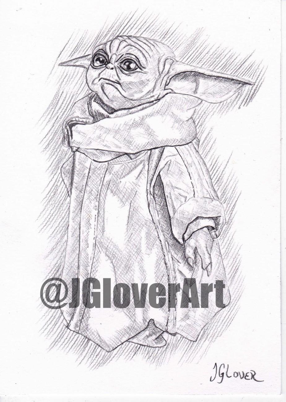 'The Child' – Mandalorian Original Art Sketch Giveaway – Star Wars Baby YodaIllustration