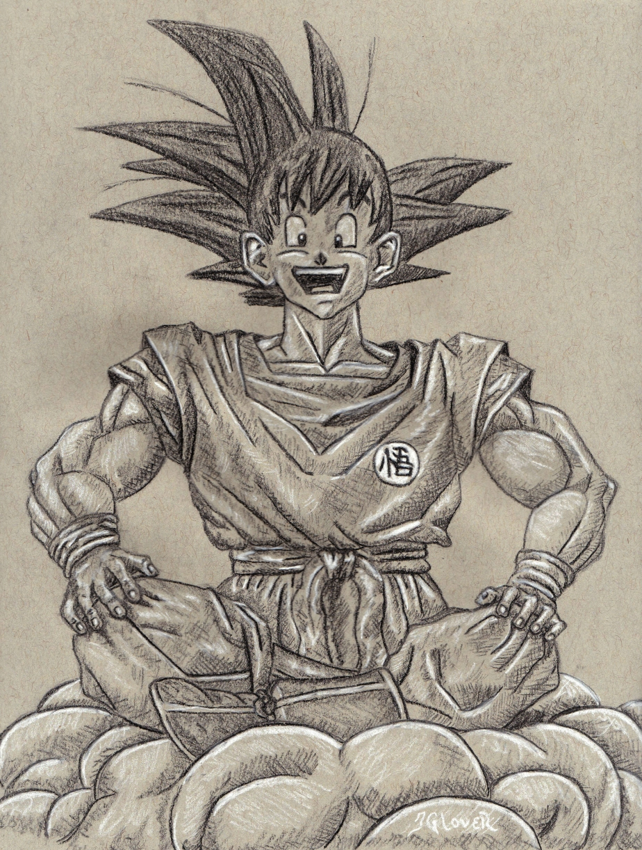 Kakarot – Son Goku – Dragon Ball Z Charcoal Drawing Manga Illustration