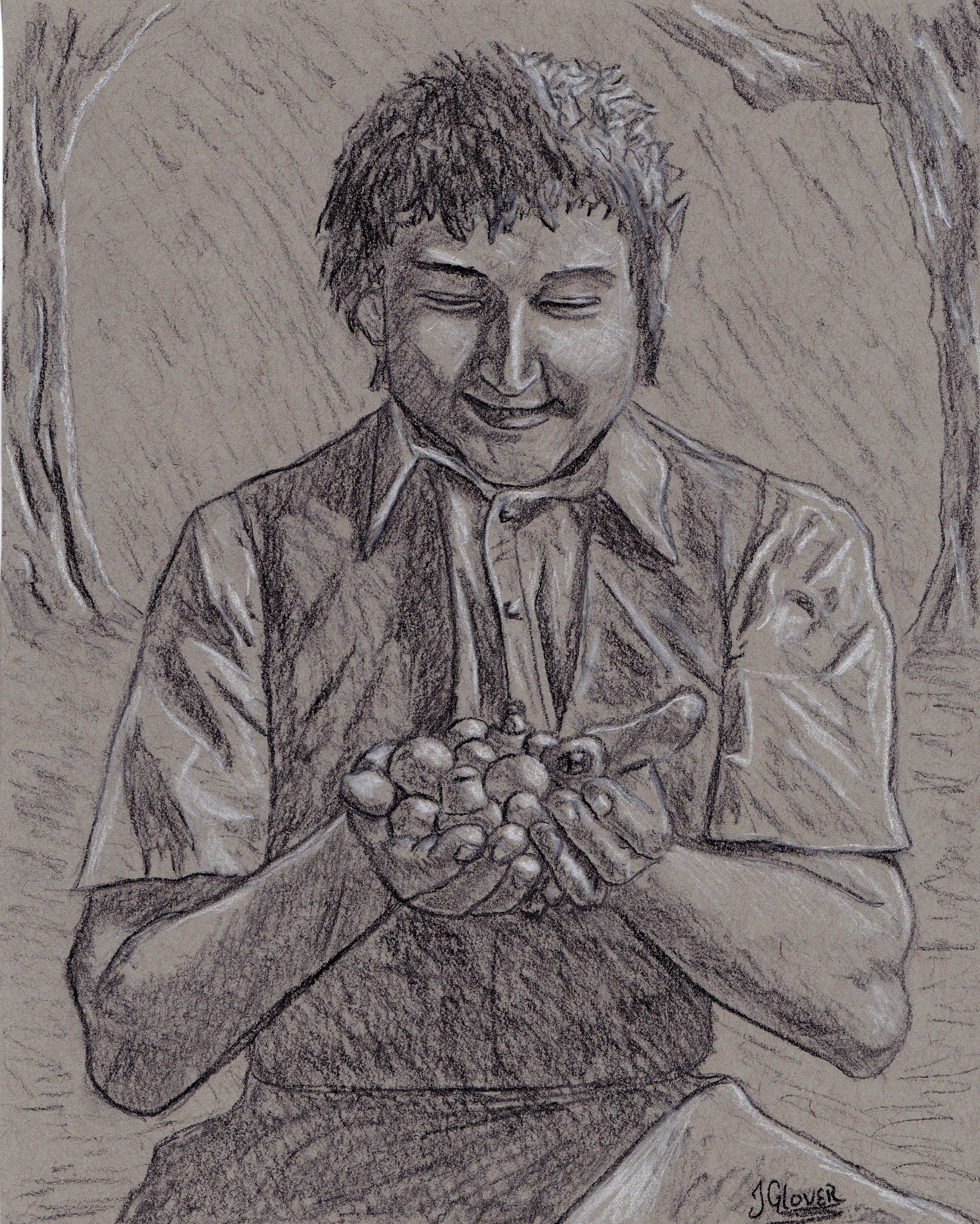 lord of the rings - art - illustration - fantasy - jrr tolkien - charcoal - drawing - JGlover