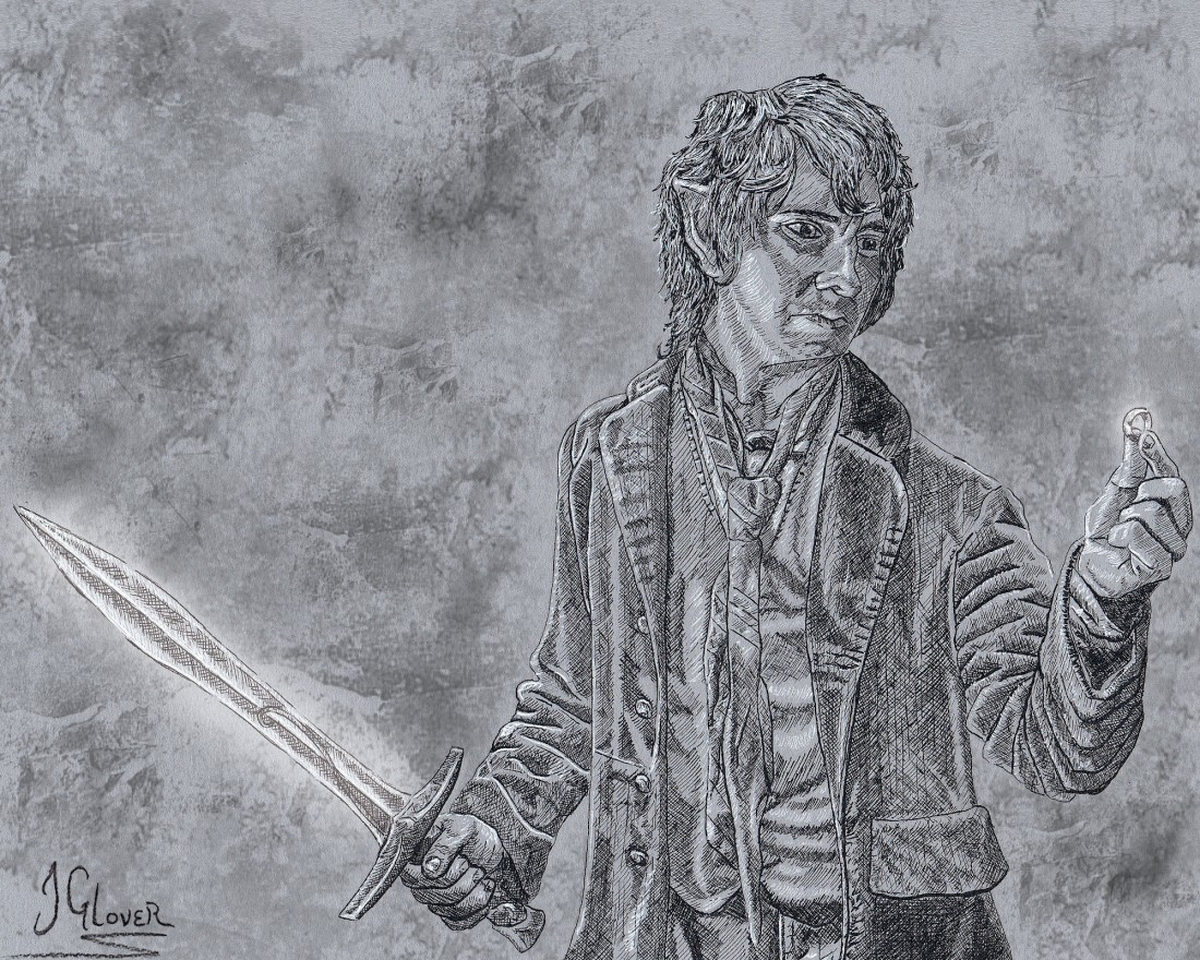 Bilbo Baggins - The Finding of the One Ring - JRR Tolkien Lord of the Rings Hobbit Illustration Art Fantasy JGlover