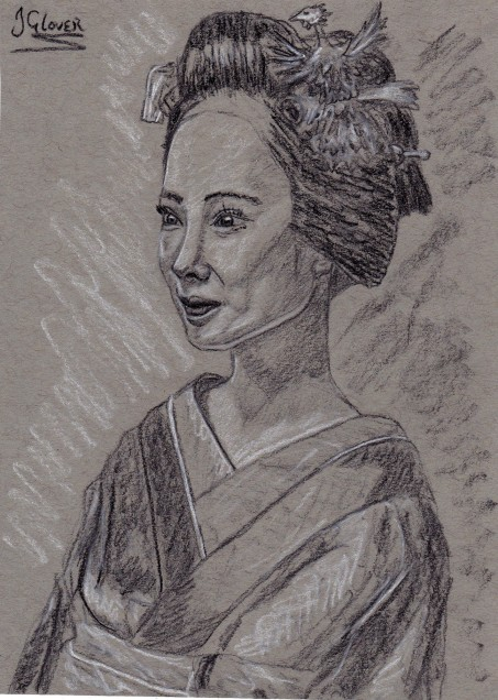 Geisha Girl Charcoal Preliminary Drawing I