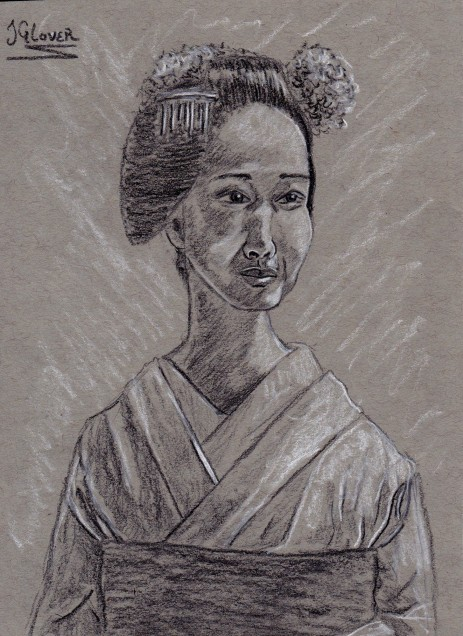Geisha Girl Charcoal Preliminary Drawing II