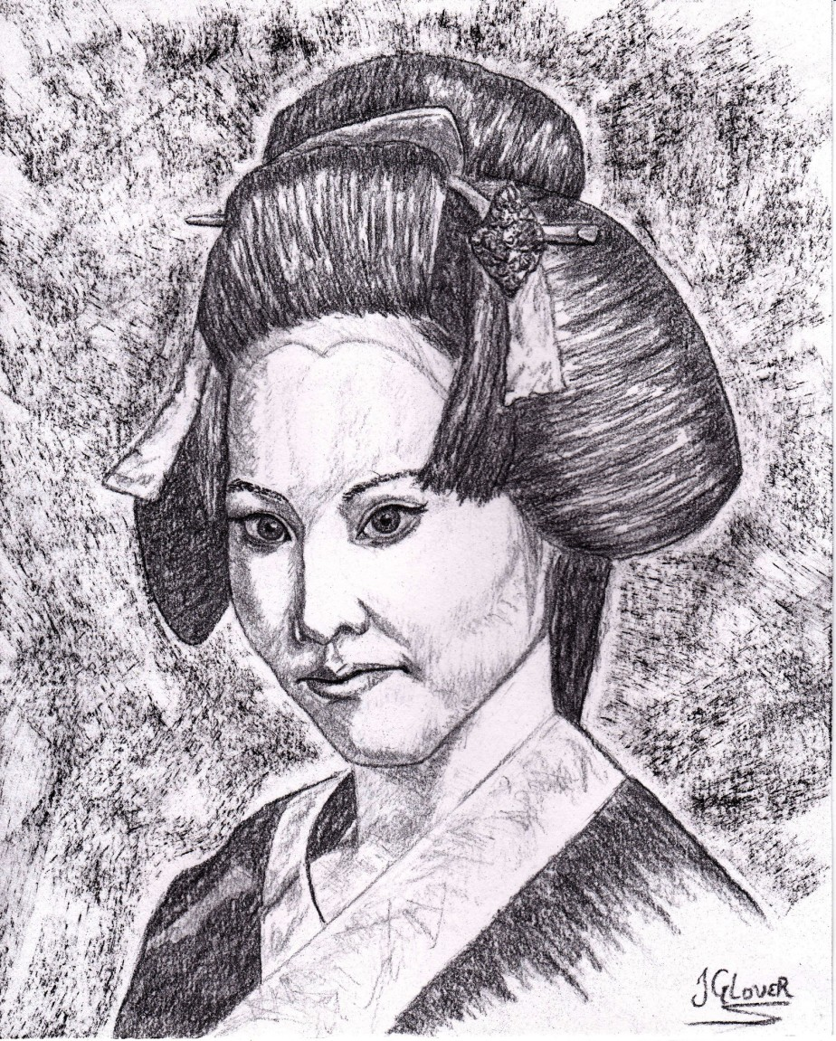 Geisha Girl Portrait I – CharcoalDrawing