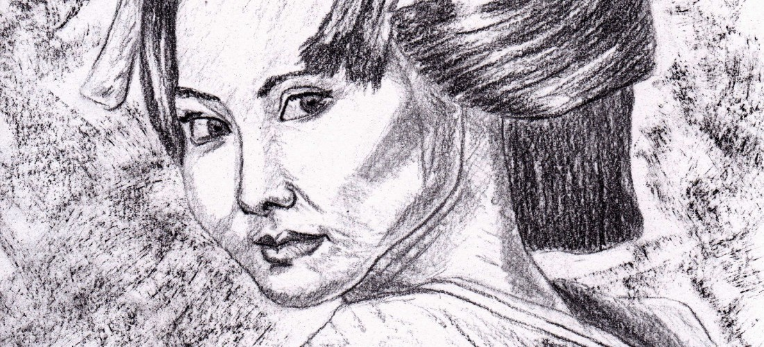 Geisha - girl - maiko - drawing - art - illustration - culture - travel - japan - japanese - charcoal - fine art