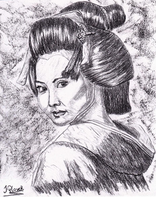 Geisha Girl Portrait II – CharcoalDrawing