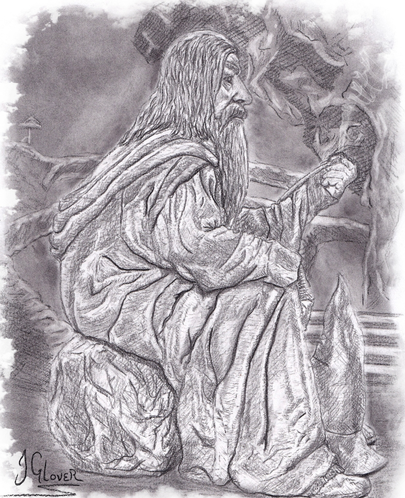 Gandalf in Moria - sitting - sat - smoking pipe - pencil - drawing - lord of the rings - illustration - essex - jrr tolkien